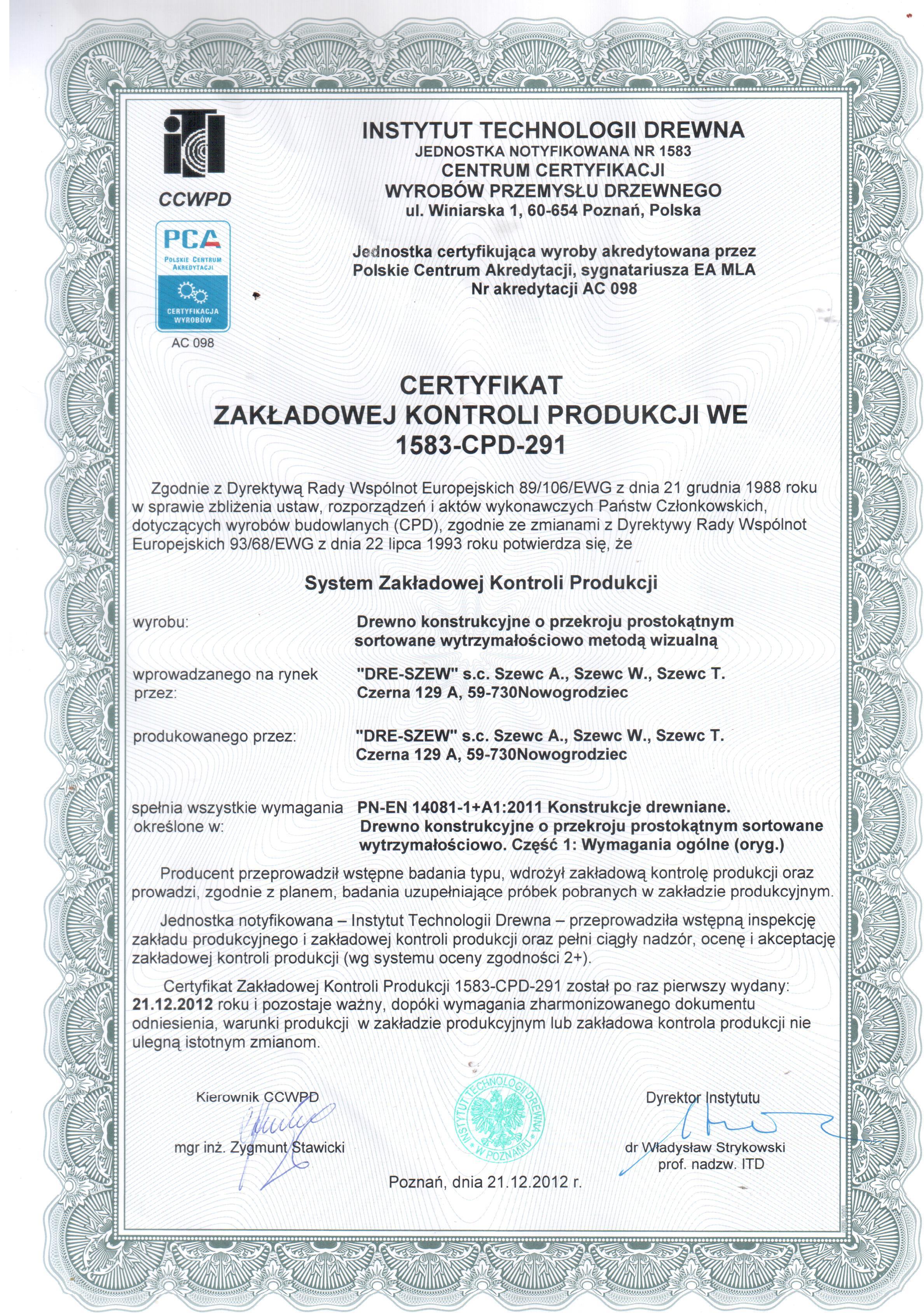 Certyfikat na drewno konstrukcyjne